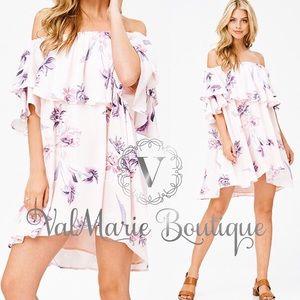 Light pink floral off shoulder dress